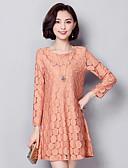 cheap Women's Dresses-Women's Plus Size Daily Street chic Loose Dress - Jacquard Lace Spring Black Light Brown XXXL 4XL XXXXXL