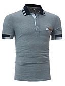 preiswerte Herren Polo Shirts-Herrn Solide - Aktiv Baumwolle Polo, Hemdkragen Schlank / Kurzarm