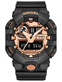 cheap Sport Watches-SMAEL Men's Sport Watch Digital Watch Japanese Quartz Digital 30 m Water Resistant / Water Proof Chronograph Shock Resistant PU Silicone Band Analog-Digital Casual Fashion Black / Blue / Red - Black
