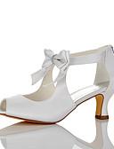 baratos Moda Sensual Feminina-Mulheres Sapatos Cetim Verão / Outono Conforto Sandálias Salto Agulha Dedo Aberto Laço Branco / Casamento / Festas & Noite