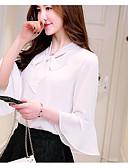 billige Skjorter til damer-V-hals Bluse Dame - Ensfarget