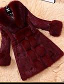 billige Jakke & Trench Coat-Dame Ensfarvet Simple Pelsfrakke