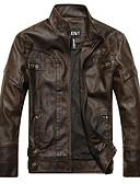 olcso Férfi dzsekik és kabátok-Vintage Állógallér Vékony Férfi Kožnate jakne - Egyszínű / Csíkos, Nyomtatott