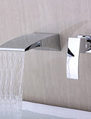 cheap Women's Dresses-Bathroom Sink Faucet - Waterfall Wall Mount Chrome Widespread Single Handle Two Holes