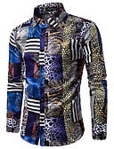 cheap Men's Shirts-Men's Slim Shirt - Leopard Print Classic Collar / Long Sleeve