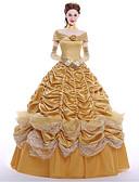 billige Aftenkjoler-Prinsesse Queen Cosplay Kostumer Party-kostyme Maskerade Dame Film-Cosplay Kjole Hansker Underskjørt Jul Halloween Karneval Ssatin / Sydd Blonde