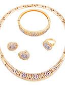 hesapli Kadın Elbiseleri-Kadın's Takı Seti - Altın Kaplama Klasik, minimalist tarzı, Moda Dahil etmek Kolye Altın Uyumluluk Düğün / Parti / Nişan