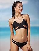 cheap Women's Dresses-Women's Solid Sports Cutouts Halter Neck Black Bikini Swimwear - Solid Colored S M L Black / Push-up
