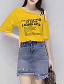 cheap Women's Two Piece Sets-Women's Going out T-shirt - Solid Colored Letter & Number Skirt One Shoulder