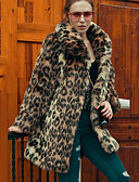 cheap Women's Fur Coats-Women's Vintage Plus Size Faux Fur Fur Coat - Leopard Shirt Collar