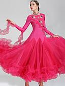 저렴한 볼룸 댄스 웨어-볼륨 댄스 드레스 여성용 성능 폴리에스테르 스판덱스 크리스탈 / 라인석 긴 소매 드레스 Neckwear