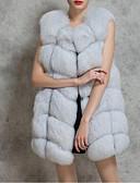 cheap Women's Fur Coats-Women's Street chic Plus Size Faux Fur Fox Fur Fur Coat-Solid Colored V Neck