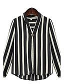 baratos Blusas Femininas-Mulheres Tamanhos Grandes Blusa Moda de Rua Listrado Decote V / Primavera / Outono / Belas Stripe