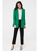 cheap Women's Blazers-Women's Work Simple Casual Spring Blazer,Solid V Neck Long Sleeve Long Polyester