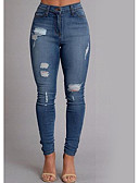 זול מכנסיים לנשים-בגדי ריקוד נשים סקיני סקיני / רזה / ג'ינסים מכנסיים - אחיד פול / סקסית