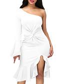 olcso Női ruhák-Női Bodycon Ruha Egyszínű Aszimmetrikus Félvállas Magas derekú