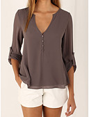 cheap Women's Blouses-Women's Weekend / Going out Casual Loose Blouse - Solid Colored Deep V