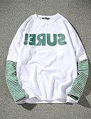 cheap Men's Hoodies & Sweatshirts-Men's Plus Size Cotton T-shirt - Solid Colored Striped Round Neck