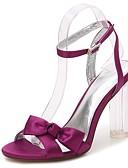 hesapli Gece Elbiseleri-Kadın's Ayakkabı Saten Bahar / Yaz Temel Topuklu / Bilekten Bağlamalı / şeffaf Ayakkabı Sandaletler Kalın Topuk / Saydam Topuk / Kristal Topuk Yuvarlak Uçlu Ofis ve Kariyer için Taşlı / Fiyonk
