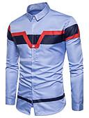 baratos Camisas Masculinas-Homens Camisa Social Temática Asiática Quadriculada Algodão Colarinho Clássico / Manga Longa