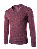 cheap Men's Sweaters & Cardigans-Men's Daily / Sports Solid Colored Long Sleeve Regular Pullover, V Neck Fall / Winter Purple / Yellow / Wine L / XL / XXL