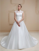 cheap Wedding Dresses-A-Line High Neck Chapel Train Lace / Satin Made-To-Measure Wedding Dresses with Appliques / Buttons / Sashes / Ribbons by LAN TING BRIDE® / See-Through / Beautiful Back