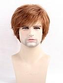 preiswerte Exotische Herrenunterwäsche-Menschliches Haar Capless Perücken Echthaar Glatt Seitenteil Kurz Maschinell gefertigt Perücke Herrn