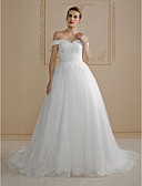 cheap Wedding Dresses-Ball Gown Off Shoulder Court Train Lace Made-To-Meature Wedding Dresses with Beading / Appliques by LAN TING BRIDE® / Open Back