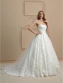 olcso Menyasszonyi ruhák-Báli ruha Pánt nélküli Kápolna uszály Csipke Made-to-measure esküvői ruhák val vel Rátétek által LAN TING BRIDE® / Open Back