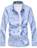 baratos Camisas Masculinas-Homens Camisa Social Diário Tamanhos Grandes Casual Todas as Estações,Estampado Poliéster Elastano Colarinho de Camisa Manga Longa Média