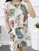 baratos Conjuntos Femininos-Mulheres Algodão Blusa - Estampado Calça