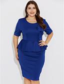abordables Vestidos de Trabajo-Mujer Tallas Grandes Noche / Trabajo Chic de Calle Delgado Corte Bodycon Vestido - Frunce, Un Color Hasta la Rodilla Azul