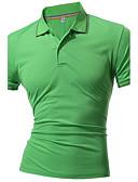 olcso Férfi pólók-Sport Aktív Állógallér Férfi Extra méret Pamut Polo - Egyszínű / Rövid ujjú