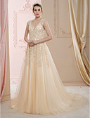 olcso Menyasszonyi ruhák-A-vonalú / Hercegnő V-alakú Udvari uszály Csipke / Tüll Made-to-measure esküvői ruhák val vel Gyöngydíszítés / Rátétek által LAN TING BRIDE® / Színes menyasszonyi ruhák / Átlátszó / Gyönyörű fekete