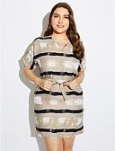 preiswerte Kleider in Übergröße-Damen Übergrössen A-Linie Kleid Gestreift Mini V-Ausschnitt