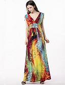 baratos Vestidos de Mulher-Mulheres Tamanhos Grandes Boho balanço Vestido - Estampado Decote V Cintura Alta Longo