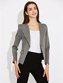abordables Blazers y Chaquetas de Mujer-Mujer Blazer Escote Chino-Un Color,Algodón