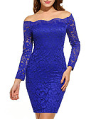 cheap Women's Two Piece Sets-Women's Plus Size Going out Sophisticated Bodycon Dress - Solid Colored Blue, Lace Off Shoulder / Spring / Fall / Slim