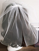 cheap Wedding Veils-Two-tier Cut Edge Wedding Veil Blusher Veils 53 Ruffles Tulle