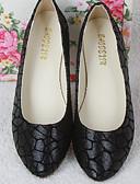 저렴한 여성 브라-여성용 구두 PU 봄 / 가을 컴포트 플랫 플랫 둥근 발가락 용 골드 / 블랙