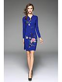 baratos Vestidos de Mulher-Mulheres Tamanhos Grandes Temática Asiática Reto Vestido Sólido Colarinho Chinês Altura dos Joelhos