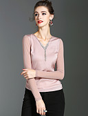 cheap Women's Tops-XSSL Women's Cute Street chic T-shirt - Solid Colored V Neck