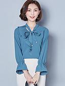 abordables Camisas y Camisetas para Mujer-Mujer Chic de Calle Lazo Blusa, Escote en Pico Un Color / Primavera / Otoño / Con Lazo