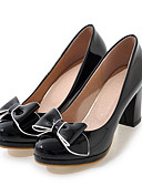 cheap Girls' Clothing-Women's Shoes PU(Polyurethane) Spring / Fall Comfort / Novelty Heels Chunky Heel Pointed Toe Bowknot Black / Beige / Pink / Dress
