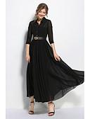 זול שמלות נשים-בגדי ריקוד נשים מכנסיים - אחיד שחור שחור / מקסי / צווארון חולצה