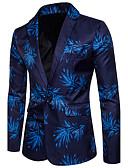 ieftine Pantaloni Bărbați si Pantaloni Scurți-Bărbați Casual / Club Primăvară / Vară Regular Blazer În V Manșon Lung Bumbac / Poliester Imprimeu Albastru piscină / Roșu-aprins XL / XXL / XXXL / Zvelt