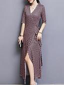 저렴한 여성 드레스-여성용 플러스 사이즈 데이트 칼집 드레스 프린트 맥시 V 넥 / 가을 / 트임