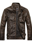 cheap Men's Jackets & Coats-Men's Club Street chic / Punk & Gothic Plus Size Leather Jacket - Solid Colored / Long Sleeve