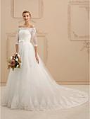 baratos Vestidos de Casamento-Linha A / Princesa Ombro a Ombro Cauda Catedral Renda sobre Tule Vestidos de casamento feitos à medida com Apliques / Renda / Faixa / Fita