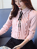 cheap Women's Dresses-Women's Work Blouse - Solid Colored Shirt Collar / Spring / Fall / Floral